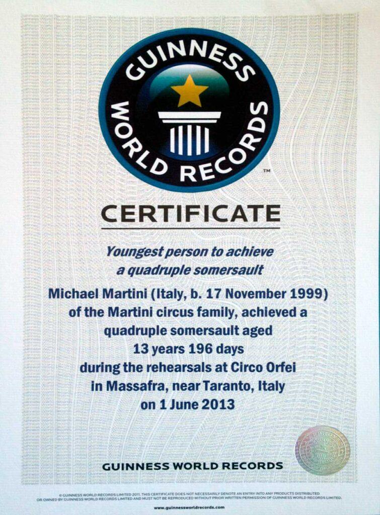 MICHAEL MARTINI ENTRA NELLA LEGGENDA DEL GUINNESS WORLD RECORD